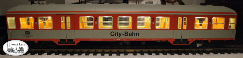Piko 37622 DB IV Silver Coin Coach 2 Class City-Bahn w SL-35LED-Bd powered by SL-8453003 LED Controller powering a SL	8137230	35 LED 3 Drop Ceiling Lighting + 2 Red LEDs side view