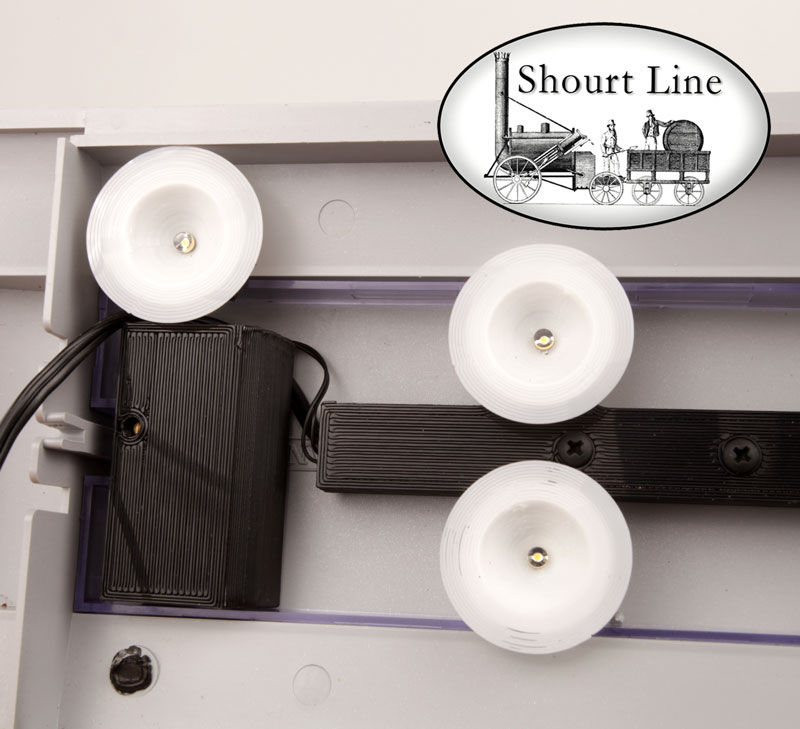 Shourt Line SL 8210230 10 LED Soft White Opal Light Fixtures for long cars DC/DCC showing SL LED regulator and cover