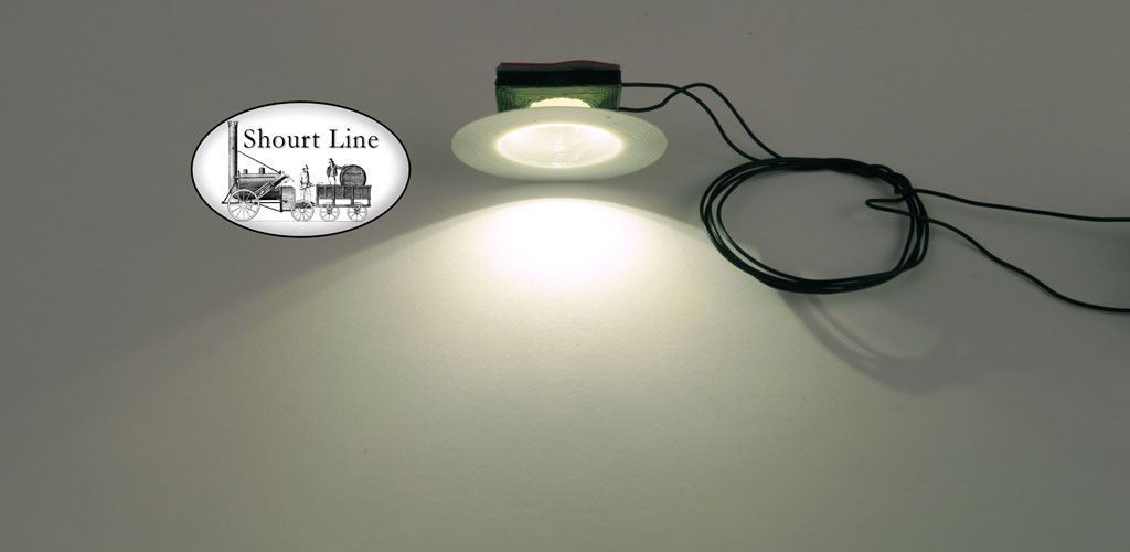 G Scale SL-8291230 1 LED Tiffany Opal Lamp Fixture - Low Profile Flat peel and stick 3M mount - 18 inch micro black wires